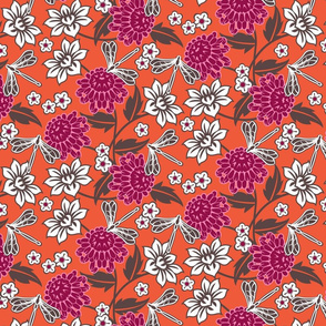 Japanese large floral orange