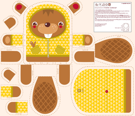 Cosy Beaver Pal fabric by verycherry on Spoonflower - custom fabric