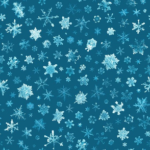 photographic snowflakes on cyan (large snowflakes)