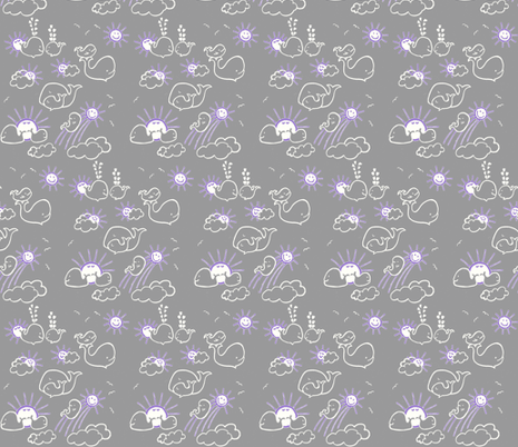 You Are My Sunshine Whales in  Grey and Lavender fabric by kbexquisites on Spoonflower - custom fabric