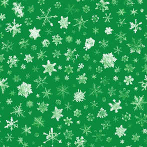 photographic snowflakes on Christmas green (large snowflakes)