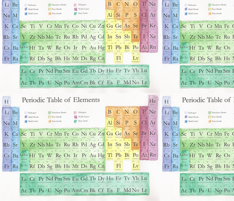 Periodic Table Watercolor  fabric by silkaphyllis on Spoonflower - custom fabric