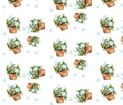 Petunias blue on white fabric by karenharveycox on Spoonflower - custom fabric