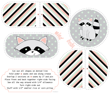 Cuddly Racoon Rice Pillow Set fabric by jacinda on Spoonflower - custom fabric