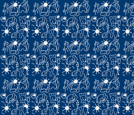 You Are My Sunshine Elephants in Navy Blue fabric by kbexquisites on Spoonflower - custom fabric