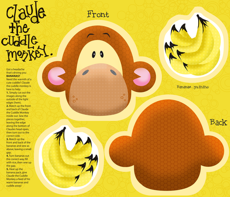 Claude the Cuddle Monkey fabric by mulberry_tree on Spoonflower - custom fabric