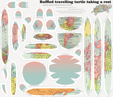 Ruffled travelling turtle taking a rest fabric by lucybaribeau on Spoonflower - custom fabric