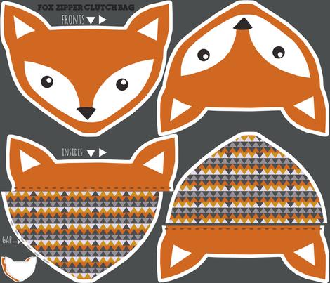 fox clutch zipper bag - cut and sew pattern fabric by katarina on Spoonflower - custom fabric