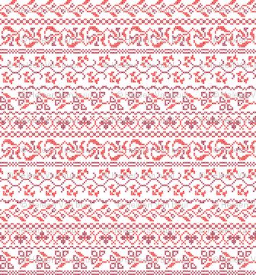 flower cross stich in red
