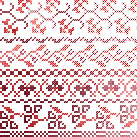 flower cross stich in red fabric by heleenvanbuul on Spoonflower - custom fabric