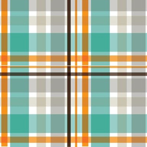 Aqua and Orange Plaid