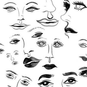 Black & White Ladies Face Pattern