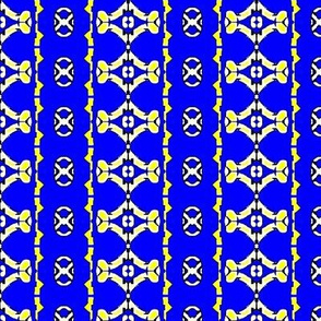 Yellow and blue crosses and diamonds