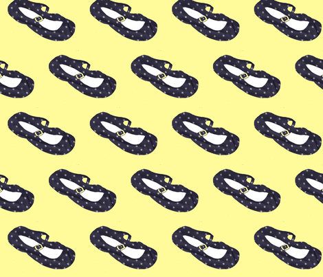 Navy Polka Dot Mary Janes fabric by sweetie_netts on Spoonflower - custom fabric