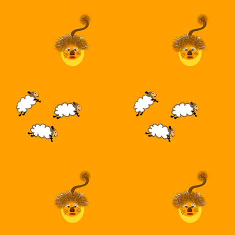 Lambs_and_lion__orange fabric by gargoylesentry on Spoonflower - custom fabric