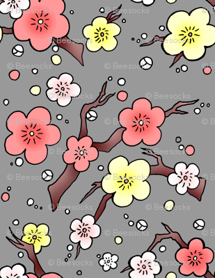 Cherry Blossom in peach and grey