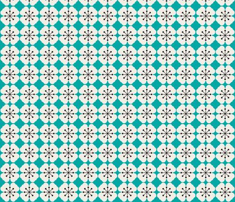farmhouse_flowerbed_aqua fabric by holli_zollinger on Spoonflower - custom fabric