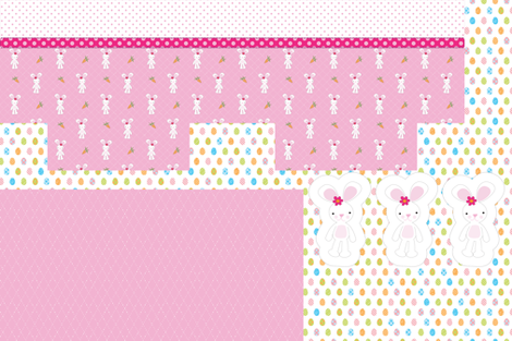 Witee Pink Bunny Basket (Cut & Sew Project) fabric by witee on Spoonflower - custom fabric