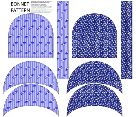 Bonnet Pattern Stripes and Floral fabric by janelle_wooten on Spoonflower - custom fabric