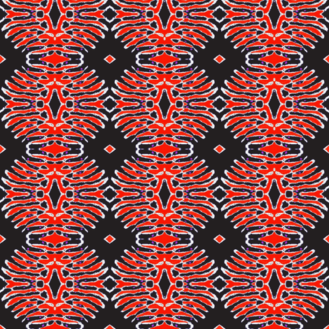 Red batik flower on black background fabric by dk_designs on Spoonflower - custom fabric