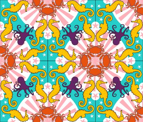 Ocean's FAUNA fabric by juliesfabrics on Spoonflower - custom fabric