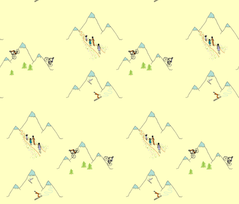 Mountain play (in custard) fabric by calmcradle on Spoonflower - custom fabric