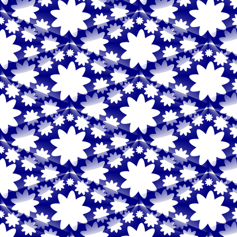Ditzy Floral and Diamonds - Blue fabric by telden on Spoonflower - custom fabric