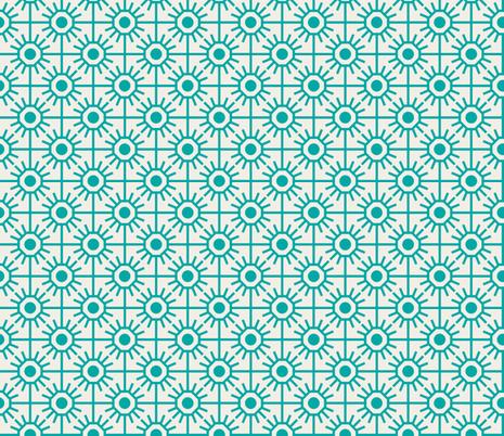 farmhouse_garden_aqua fabric by holli_zollinger on Spoonflower - custom fabric