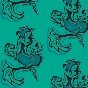 Sitting Pretty Mermaid6-teals/black