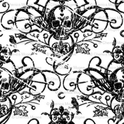 Raven Skull Damask White