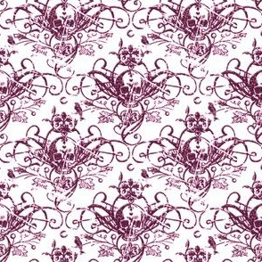 Raven Skull Damask Purple