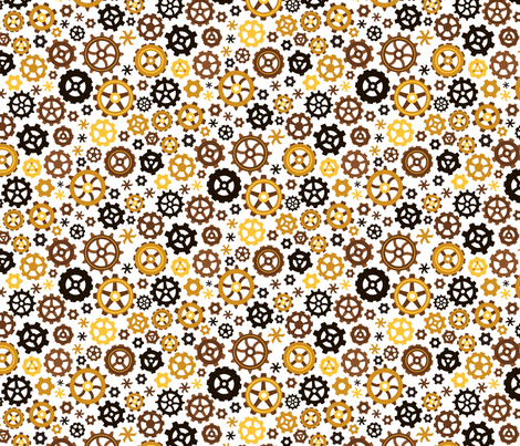 SteampunkGEAR_white fabric by urban_threads on Spoonflower - custom fabric