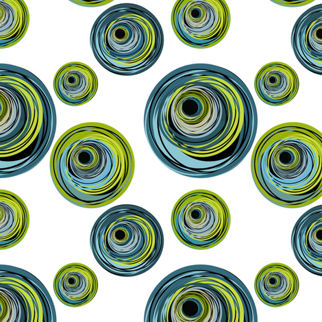 Peacock Inspired Blue and Green Circle Swirls fabric by barbie4364 on Spoonflower - custom fabric