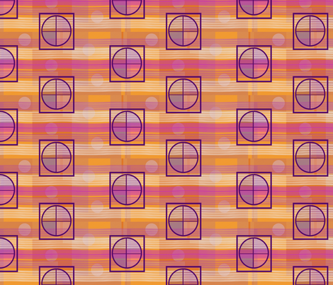 Orange Pink Yellow Stripes Circles and Squares fabric by barbie4364 on Spoonflower - custom fabric