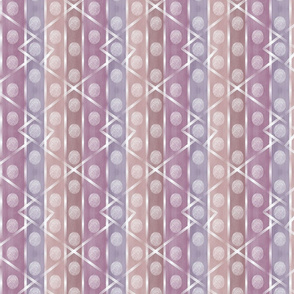 Pink Purple Peach Stripes with White Circles and Line Pattern