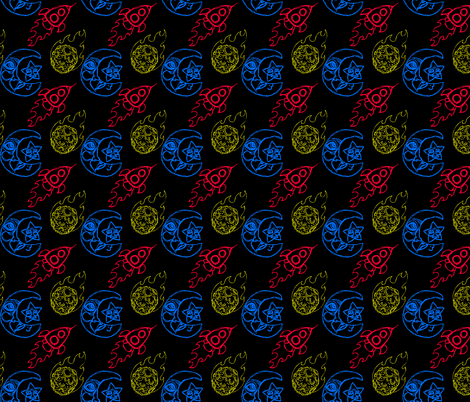 Asteroids with Rockets in Black fabric by cuddlebat on Spoonflower - custom fabric