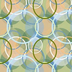 Plaid Circles in Shades of Peach Blue Green White