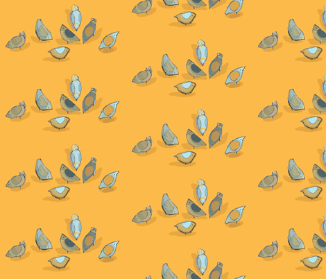 Pigeon Feeding in mango and grey fabric by mightypigeon on Spoonflower - custom fabric