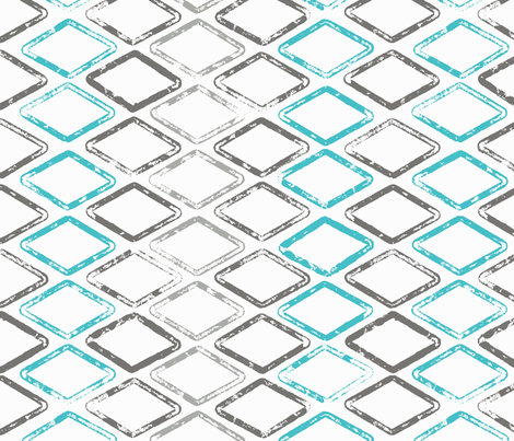 Diamonds are Forever - Gray, Turquoise, Light Gray fabric by cameronhomemade on Spoonflower - custom fabric