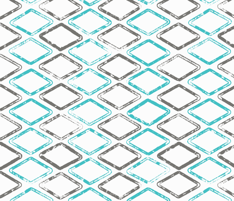 Diamonds are Forever - Gray, Turquoise fabric by cameronhomemade on Spoonflower - custom fabric