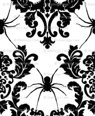 spider damask black on white