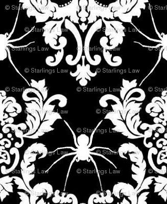 spider damask white on black