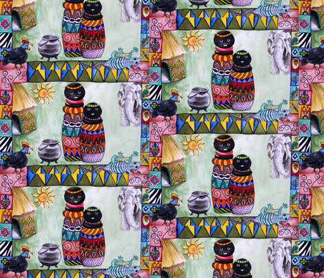 African_village_by Sylvie fabric by art_on_fabric on Spoonflower - custom fabric