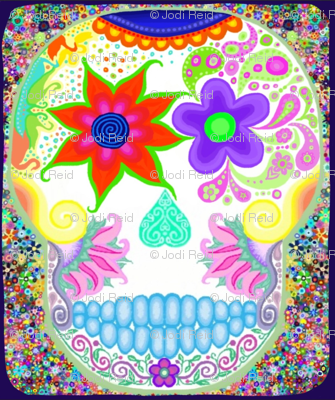 Sugar scull with flowers