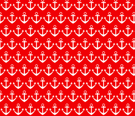 Heart Anchor Red fabric by poofhawk on Spoonflower - custom fabric
