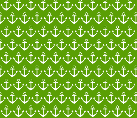 Heart Anchor Green fabric by poofhawk on Spoonflower - custom fabric