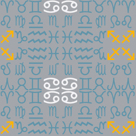 All together zodiac signs - dust blue fabric by domoshar on Spoonflower - custom fabric