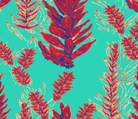 exotic8_aqua_repeat fabric by isabel_isaza on Spoonflower - custom fabric