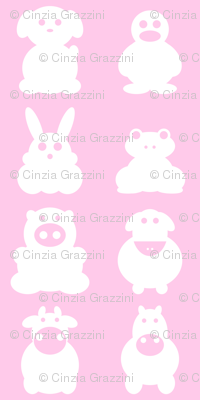 farm animals on pink