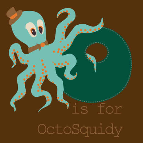 O is for Octosquidy fabric by phantomssiren on Spoonflower - custom fabric